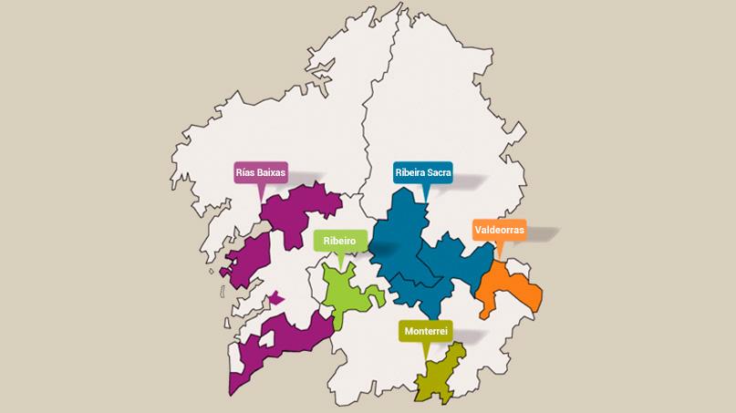 mapa denominaciones vino galicia